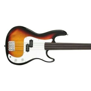 """Glarry Fretless P Bass Guitar Full Size 34"""" Scale  Basswood SUNSET with Gig Bag"""