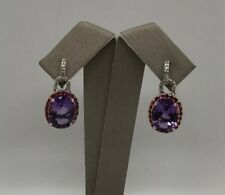 14k Solid White Gold Amethyst Ruby Diamond Stud Earrings