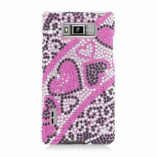 For LG Venice LG730 Crystal Diamond BLING Hard Case Phone Cover Black Red Hearts