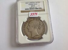 1847 Great Britain Crown Young Head Ngc Xf 45