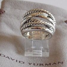 David Yurman New Wide CrossOver Sterling Silver Cable Band Ring Size 8 w/ Pouch