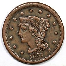 1857 N-2 Small Date Braided Hair Large Cent Coin 1c