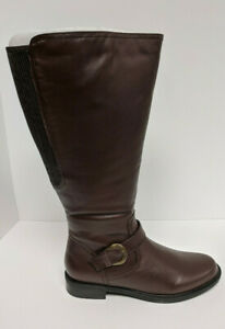 David Tate Branson Riding Boots, Brown Leather, Women's 12 M (Extra Wide Calf)