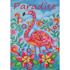 "PARADISE FLAMINGO 12.5"" X 18"" GARDEN FLAG 27-2930-136 FLIP IT! RAIN OR SHINE SMR"