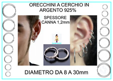 Orecchini a Cerchio Cerchietto in Argento 925% Uomo Donna Diametro 1,2x 8 a 30mm