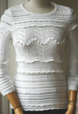 ISABEL MARANT ETOILE SIMON WHITE KNITTED TOP FR 38 UK 8/10 US 4/6