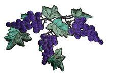 "#4019 5 3/8"" Purple Grape Vine Leaves Embroidery Iron On Appliqué Patch-Left"