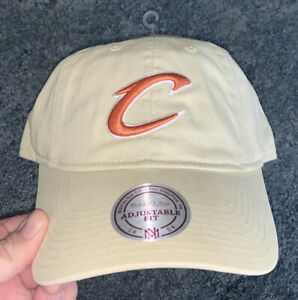 Mitchell & Ness Cleveland Cavaliers Cavs Hat Khaki/W Red Logo Strapback