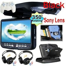 "Black 9"" HD LCD Car Overhead CD DVD Player TV IR FM Games Speaker Headphones"