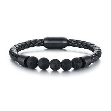 Trendy Mens Leather Braided Bracelet Lava Chakra Stone Beads Bangles, 8''-8.5''