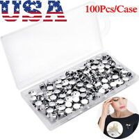 100PCS Metal Pin Backs Pins Locking Keepers Clasp Backs Silver with Box