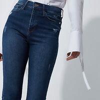 ex-River Island Blue Harper high waist skinny jeans (7783)