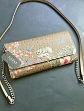 Guess Wallet Pandore Mini Oo672471 Mocha Multi Woman Chain Clutch Trifold Purse