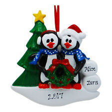 NAME PERSONALIZED Winter Penguin Family of 2 Christmas Ornament Holiday Gift