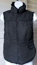 Famous Brand Black/Black Reversable Fabric/Faux Mink Fur Fitted Vest Sz S NWOT