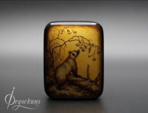 "Handmade box. Miniature Fedoskino ""Bear"""