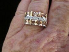 14 kt Gold filled 6 princess cut Topaz & Cubic Zirconia ring size 9.5 - 7.1 gram