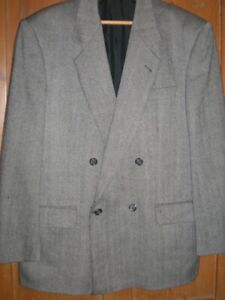 SALE Mens M&S Pure Wool Herringbone JACKET 42in Short Vintage Tweed Black Grey