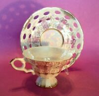 Pedestal Cup And Reticulated Saucer - White & Pink Luster - Gold Accents - Japan