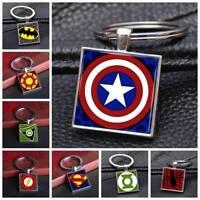 Superhero Symbol Logo Comics Square Keychain Silver Keyring Pendants Gifts