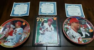 TWO Mark McGuire Home Run Collectors Plates with Additional McGwire Plaque