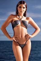 Mapale gunmetal metallic halter thong bikini set