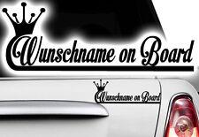1x Aufkleber WUNSCHNAME ON BOARD Sticker Hangover Baby Auto Kind fährt mit FUN1