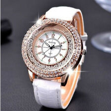 Hot Women Crystal Pearl Dial Quartz Analog Leather Bracelet Wrist Watch White