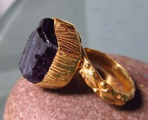Gold plated brass rough amethyst chunky ring UK L½/US 6. Gift bag.