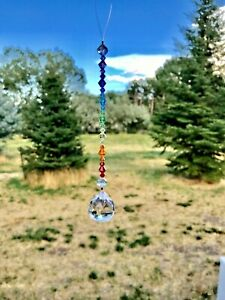 CHAKRA Sun catcher Car Charm Ornament Rainbow with SWAROVSKI Crystal beads ❤️