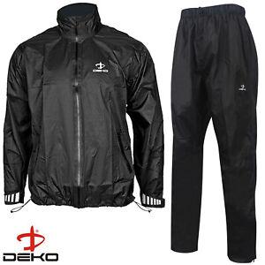 DEKO Men's Cycling Rain Suit Waterproof Rain Trouser & Rain jacket Top Black