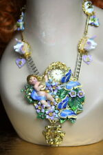 Zibellii  Set Of Hand Painted Cherub Watch Coo-coo Butterfly Necklace+ Earrings