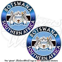 BOTSWANA SOUTHERN AFRICA Flag-Coat of Arms Vinyl Bumper Stickers, Decals 75mm x2