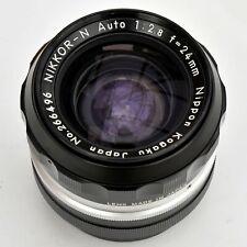Vintage Nippon Kogaku Nikkor 24mm f/2.8 N Auto PRE-AI Lens. Mint. See Test Imgs