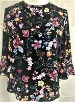 Ladies/Womens Ditsy Floral Print Crepe Top Boat Neckline 3/4 frilled sleeves NEW