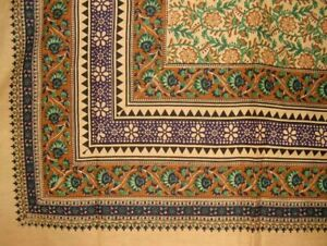 "Turkish Floral Print Tapestry Cotton Spread 108"" x 88"" Full-Queen Green"