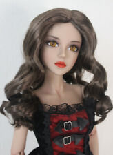 "1/3 bjd 8-9"" doll head brown curly wig dollfie Luts Iplehouse Smart JD343SM4L"