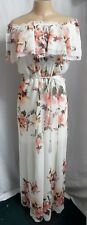 Womens White House Black Market Dress Floral Long off Shoulder Medium