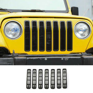 For Jeep Wrangler TJ 1997-2006 Black Front Center Mesh Grille Grill Cover Trim