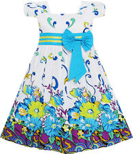 Sunny Fashion Floral Girls Dress Blue baby kids Party Pageant dress Age 2-10