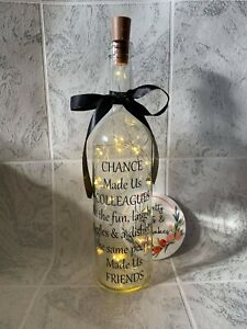 Chance Made Us Colleagues Made Us Friends Light Up Novelty Wine Bottle Gift