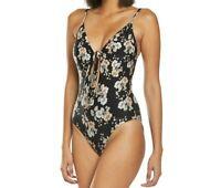 NWT $138 Seafolly Splendour Tie Front One Piece Swimsuit Size 6 US Black  14514