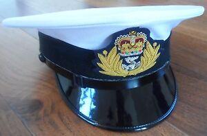 Royal Navy Officers Frame Cap, Various Sizes, Military, Hat, RN, Badge. White