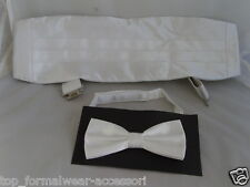 <TOP Deal> SHINY WHITE Cummerbund and Bow Tie Set-Over 50 Colours in our SHOP