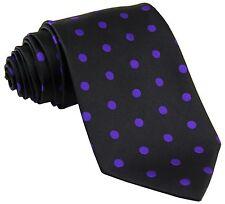 New men's polyester woven neck tie necktie prom polka dots black purple