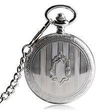 Vintage Shield Stripe Automatic Mechanical Self Winding Men Pocket Watch Chain