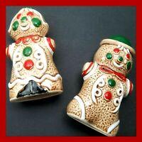 Christmas Gingerbread Salt & Pepper Shakers Vintage Made in Japan Boy & Girl