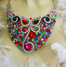 Multi Color Rhinestone Crystal Choker Necklace Earring Large Pageant Drag Queen