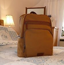 Fossil Man's Khaki Canvas Brown Leather Daysack Backpack Rucksack Laptop Bag
