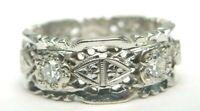 Antique Art Deco Diamond Eternity Wedding Band 14K White Gold EGL USA Rg Sz 7.5